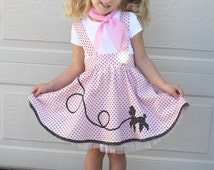 Poodle skirt suspenders retro girl toddler pdf pattern LETS GO to the  HOP