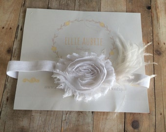 White flower headband, White newborn headband, white flower, adult flower