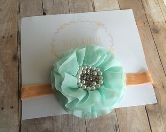 Aqua bow headband, baby headband, child headband, vintage headband, adult headband