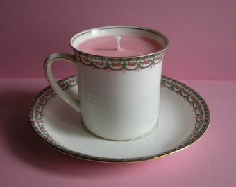 Pretty Vintage Bone China Hughes and Co. Candle Cup
