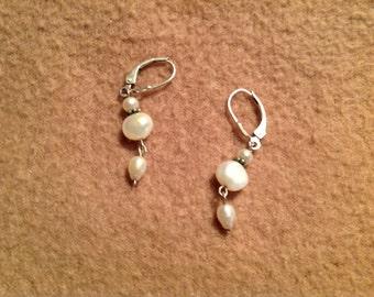 Vintage Sterling Silver Pierced Dangle Earrings with Faux Pearls