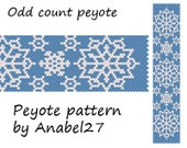 "Peyote pattern ""Snowflakes"" - beadwork - winter / Christmas/ snow - bead pattern #79"