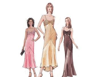 Plus Size Evening Dress Vogue 7850 Size 14-16-18 Bust 36-38-40 Close Fitting Slip Dress Front Princess Seams Tucks Shoulder Straps Uncut