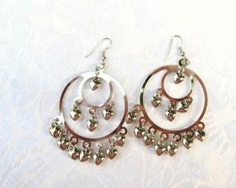 Heart Earrings / Heart Chandeliers / Gypsy Earrings / women / jewelry / teen jewelry / pierced earrings / women's jewelry