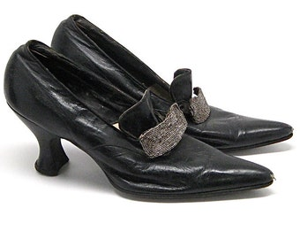 Vintage Edwardian Pumps Leather Beaded c1900 Sz6