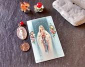Large Miraculous Mary religious jewelry necklace pendant Saint medal & holy prayer card VTG religious Easter Mother's day birthday gift set