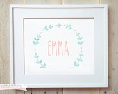 Baby Girls Name Sign - Pink Blue Laurel Wreath - Custom Print - Baby Room Wall Art - Baptism Christening Gift
