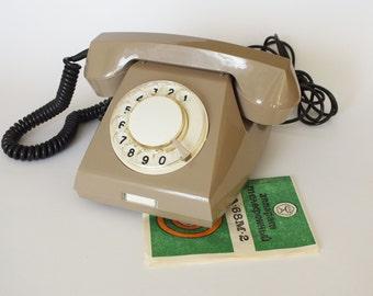 Vintage telephone. Retro phone. Russian old telephone. Rotary telephone NOS with original pasport. Retro style telephone from Soviet Union