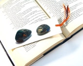Bookmark cardboard mallard ducks emerald brown photos of hand painted stones