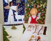 4 Christmas Card Designs from original art (8 card pack)