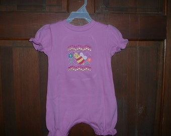 Orchid Faux Smocked Girl's Bubble--Bee--Size 9 months