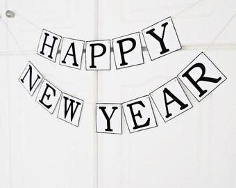 FREE SHIPPING, Happy New Year banner, New years party decoration, New years eve decor photo prop, Holiday banner, Happy new year garland