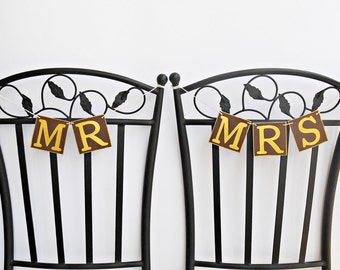 FREE SHIPPING, Mr & Mrs banners, Chair signs, Wedding Banners, Bridal shower banner, Engagement party decorations, Bachelorette party decor