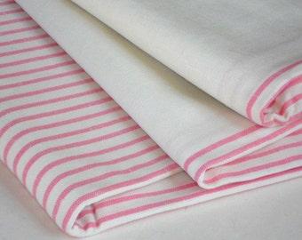 Flat linen bed sheet striped white pink organic linen bed sheet