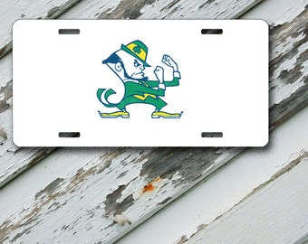 "License Plate Notre Dame White Background Design on 6"" x 12""  Aluminum License Plate"