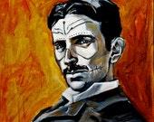"""Nikola Tesla, Dia de los Muertos Sugar Skull  Photo Reproduction 10""""x10"""""""