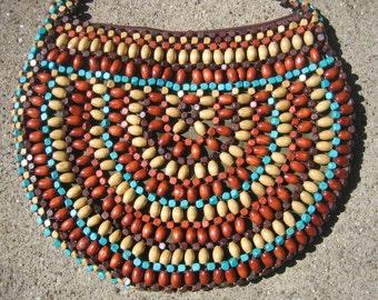 Vintage Wooden Beaded Purse Brown Tan Aqua  Hippie 70's Boho