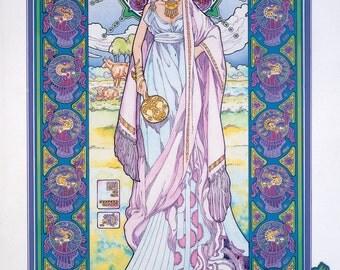 "Celtic Irish Fantasy Art Print BÓANN the Cow Goddess 23x16""."