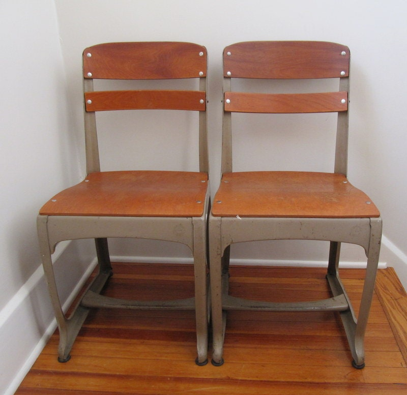 Vintage School Chair Eames Era Size 17 Adult By