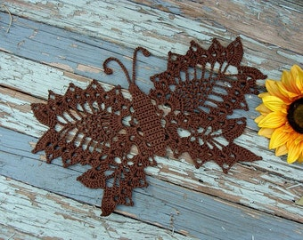 Butterfly Hand Crocheted Doily Fudge Brown