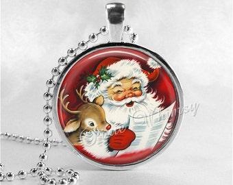 SANTA CLAUS Necklace, Santa Claus Pendant, Retro Christmas, Santa Claus, Christmas Kitsch, Christmas Jewelry, Vintage Christmas Necklace