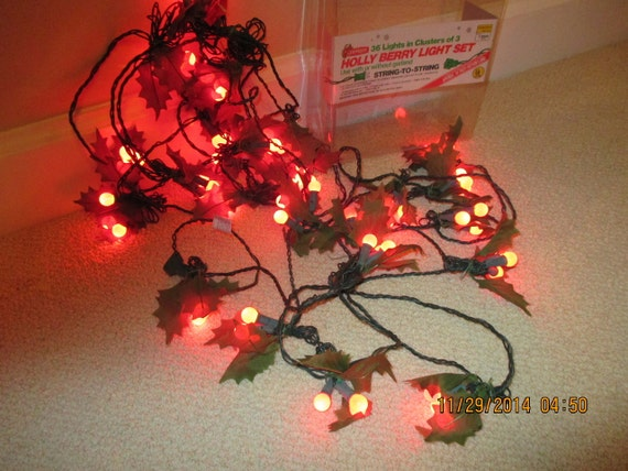 Vintage Holly Berry Christmas String Of Lights