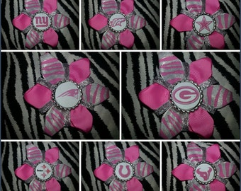 Sporty Bottlecap Football Partiots Texans Cowboys Broncos Packer Saints Colts Giants Steelers Jets Pink Sparkly Zebra Print HairBow Clip