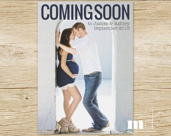 items similar to pregnancy announcement photo card coming soon baby announcement facebook. Black Bedroom Furniture Sets. Home Design Ideas