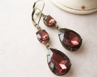Merlot Drop Earrings, Deep Burgundy Garnet, Statement Earrings, Old Hollywood Glam, Rhinestone Earrings, Holiday Jewellery.