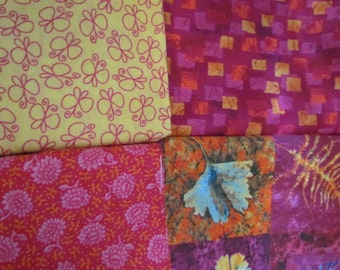 4 Piece Dark Pink Yellow Scrap Bundle     destash 219
