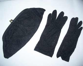 FREE U.S. SHIPPING--Matching Black Eyelet Clutch and Gloves--Very Retro