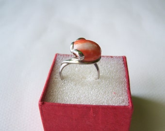 925 silver ring with stone coral salmon