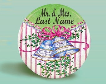CUSTOM NAME Button Magnet -Wedding3  - Customized- 2.25 Inch
