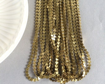 Vintage Heart Chain Necklace, Fancy Chain, Brass Fold Over Chain, Necklace, 2Pcs