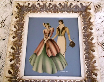 Turner Victorian Man and Lady Print Framed
