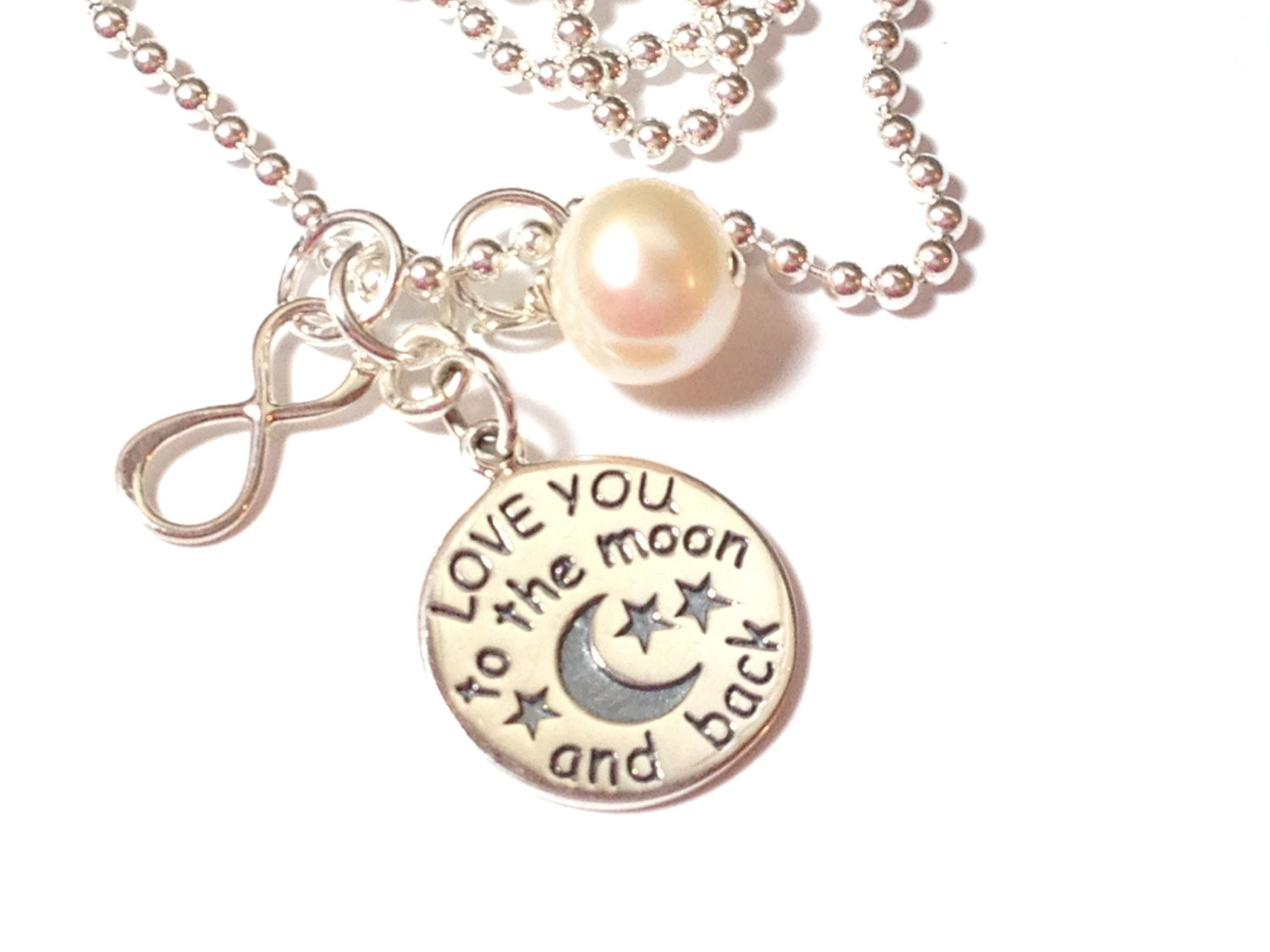 To the Moon Necklace, Infinity Necklace, Birthstone Crystal Necklace, Mommy Necklace, Mommy Charm Jewelry, Love You to the Moon necklace,