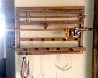 Weathered Oak Wooden Jewelry Display Holder