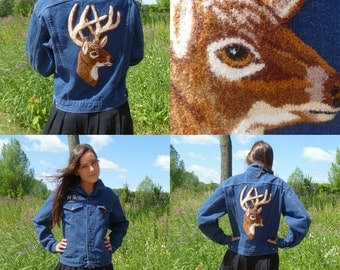 Amazing Vintage Denim Jacket with Deer Buck Stag Patch On Back Tapestry Latch Hook Rug Deer
