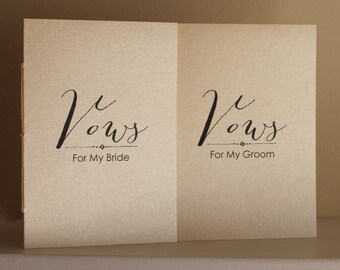 Metallic Wedding Vow Book Set  - Metallic and Shimmer Covers - Vows For My Bride Groom