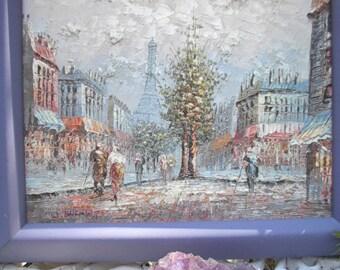 Paris Street Scene, Signed Original Oil, W. Bennet, Blue Dust Frame