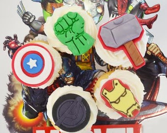 Marvel Comic Cupcake Toppers Super Hero Captain America, Hulk, Thors Hammer, Iron Man, and Avenger logo 12 cupcake toppers