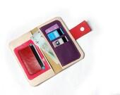 09 Mulicolor Women's Leather wallet ,Handmade Wallet ,Iphone wallet ,Leather Iphone 5 wallet