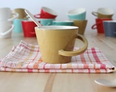 Ceramic mustard mug Cup with handle Mustard mug Wheel thrown pottery