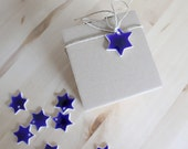4 ceramic ornaments Ocean blue stars 4 Gift tags  - Ready to ship
