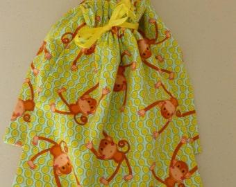 SALE - Green Monkey Themed Flannel Shoe Bags
