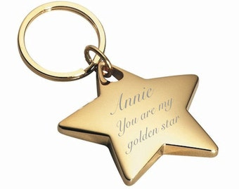 Personalized Gold Star Keychain Engraved Free