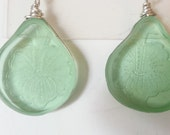 Earrings from broken Green Fostoria Vernon etched, depression glass. Hand cut, shaped and wire wrapped.