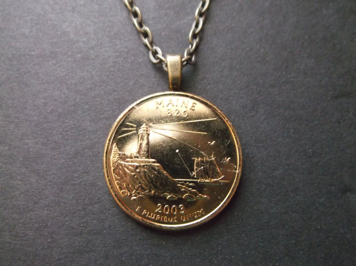 Maine United States Gold Colored Quarter Coin Necklace United