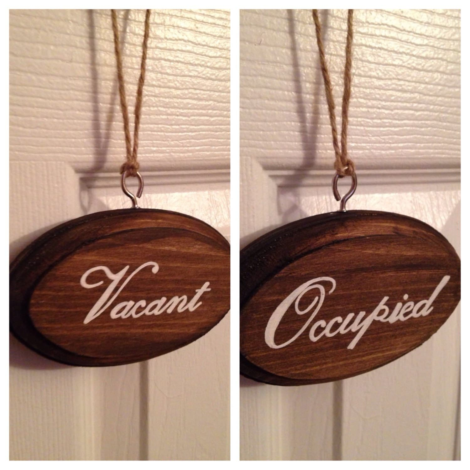 Vacant occupied double sided bathroom sign dark stain w white for Bathroom occupied sign