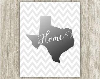 Texas Art Print, Texas State Printable, 8x10, Instant Download, Texas Silhouette, Texas Wall Art, Black & White Texas Print, Chevron